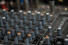 Analogic Sound Mixer. Professional audio mixing console radio and TV broadcasting.  Stock Image