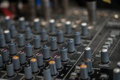 Analogic Sound Mixer. Professional audio mixing console radio and TV broadcasting Stock Image
