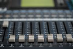 Analogic Sound Mixer. Professional audio mixing console radio and TV broadcasting.  Royalty Free Stock Images