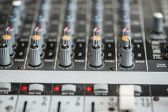 Analogic Sound Mixer. Professional audio mixing console radio and TV broadcasting.  Royalty Free Stock Photos