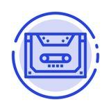 Analogon, Audio, Cassette, Compact, de Lijnpictogram van de Dek Blauw Gestippelde Lijn vector illustratie