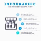 Analogon, Verbinding, Apparaat, Module, Correct Lijnpictogram met infographicsachtergrond van de 5 stappenpresentatie royalty-vrije illustratie