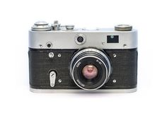 Analogowa sowiecka kamera KARMIĄCA na białym tle Stary zakurzony retro ekranowy fotograficzny wyposażenie Obraz Stock