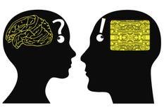 Analogowi i cyfrowi umysły Obrazy Stock