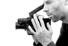 Analogue camcorder, isolated. On a white background stock photography