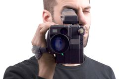 Analogue camcorder, isolated. On a white background stock photo