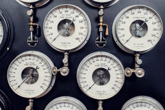 Analogue Gauge. Industrial Water Steam Measurement. Analogue Gauges Used For Industrial Water Steam Measurement. Industrial Era Technology royalty free stock images