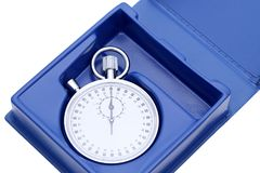 Analogue metal stopwatch. In a box on white background Stock Photos