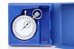 Analogue metal stopwatch. In a box on white background Stock Photo