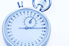 Analogue metal stopwatch. On the white background Royalty Free Stock Images