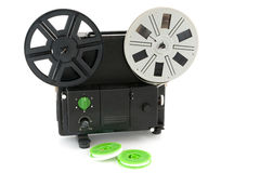 Analogue movie projector. Analogue home movie projector with reels stock image
