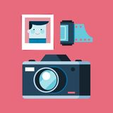 Analogue photography equipment, camera, photo and film Stock Image