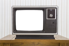 Analogue Portable Television on Table with Cut Out Screen Royalty Free Stock Images