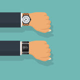 Analogy and smart watch on hand of businessman in suit. stock illustration