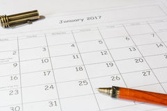 Analys av en kalender Januari Royaltyfri Bild