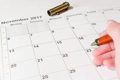 Analys av en kalender November Fotografering för Bildbyråer