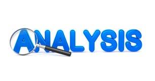 Analys - blått ord 3D till och med ett förstoringsglas. Arkivfoton