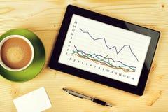 Analys för affärsdiagram på minnestavladatoren Arkivfoto