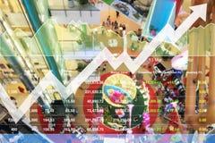 Analys för data för materielindex som visas framgången av den befordrings- försäljningen Royaltyfri Foto