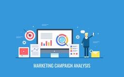 Analys för marknadsföringsaktion, kunddata, informationsövervakning, målmarknadssegmentering, affärsprofilbegrepp stock illustrationer