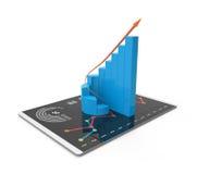 analys för tolkning 3D av finansiella data i diagram - modern grafisk överblick av statistik Arkivfoton
