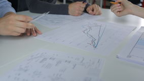 Analys och diskussion av grafer på tabellen, man och den kvinnliga handen med en blyertspenna arkivfilmer