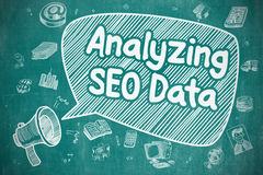 Analysant SEO Data - illustration de griffonnage sur le tableau bleu illustration libre de droits