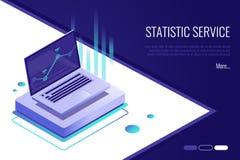 Analysdata och investering affärsidé isolerad framgångswhite Finansiell granskning med bärbara datorn och infographic beståndsdel royaltyfri illustrationer