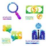 Analyse, argent, la parole de bulle, homme d'affaires Image stock