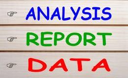 Analyse-Berichts-Daten-Konzept Lizenzfreies Stockfoto