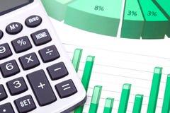 Analyse, calculatrice et tableaux de marché boursier Images libres de droits