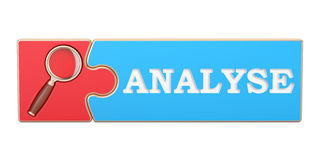 Analyse concept, from puzzle with magnifier. 3D rendering Stock Image