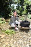 Analyse d'eau de rivière Image stock