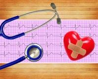 Analyse de coeur, graphique d'électrocardiogramme, coeur et stéthoscope Photographie stock libre de droits