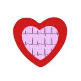 Analyse de coeur, graphique d'électrocardiogramme dans le cadre de coeur d'isolement Image libre de droits