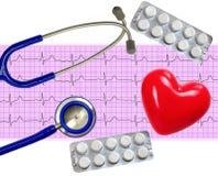 Analyse de coeur, graphique d'électrocardiogramme (ECG) Photos libres de droits