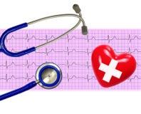 Analyse de coeur, graphique d'électrocardiogramme (ECG), coeur et stethos Images stock