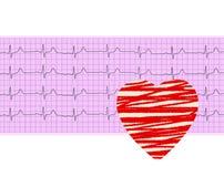 Analyse de coeur, graphique d'électrocardiogramme (ECG) et coeur de papier Photo stock
