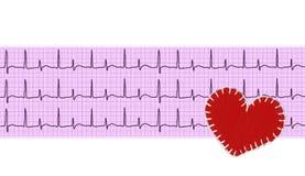 Analyse de coeur, graphique d'électrocardiogramme (ECG) et coeur de textile Images stock