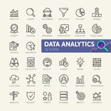 Analyse de données, statistiques, analytics - ligne mince minimale ensemble d'icône de Web Collection d'icônes d'ensemble Photo stock