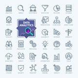Analyse de données, statistiques, analytics - ligne mince minimale ensemble d'icône de Web Collection d'icônes d'ensemble illustration stock