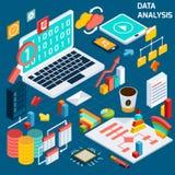 Analyse de données isométrique Images stock