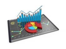 Analyse der Wiedergabe 3D von Finanzdaten in den Diagrammen - moderner grafischer Überblick über Statistiken Stockbild