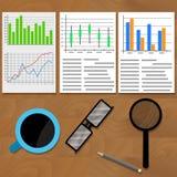 Analyse des diagrammes et des graphiques de données Photo stock