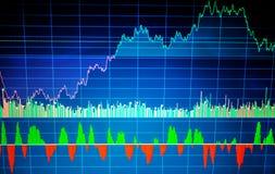 Analyse des données de marché boursier sur un moniteur Données financières sur le fond bleu photos libres de droits