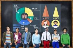 Analyse het Analitische Marketing het Delen Concept van het Grafiekdiagram royalty-vrije stock afbeelding