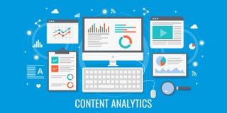 Analyse satisfaite d'optimisation et de données, seo, concept numérique de stratégie marketing Illustration plate de vecteur de c Image libre de droits
