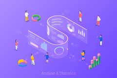 Free Analyse Statistics Big Data Charts Diagrams Isometric Flat Vector Illustration. People Working With Future Interface HUD On Stock Image - 161079641