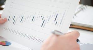 Analyse van bedrijfsgrafieken Royalty-vrije Stock Afbeelding