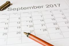 Analyse van een kalender September Stock Fotografie